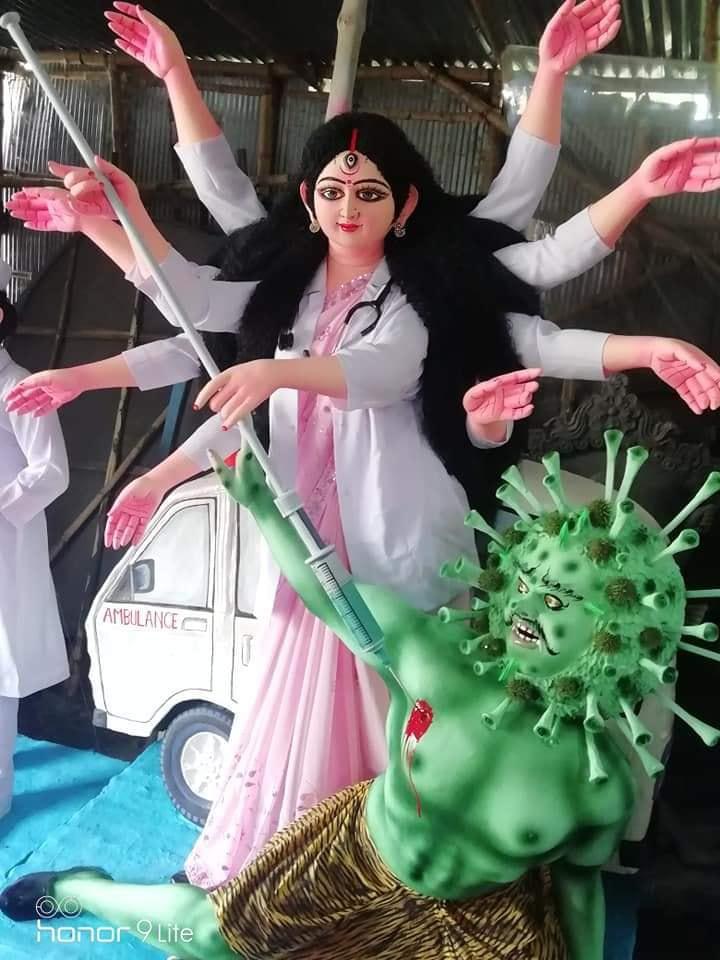 La déesse Durga tue le Coronavirus (Kolkata, artiste inconnu) © General